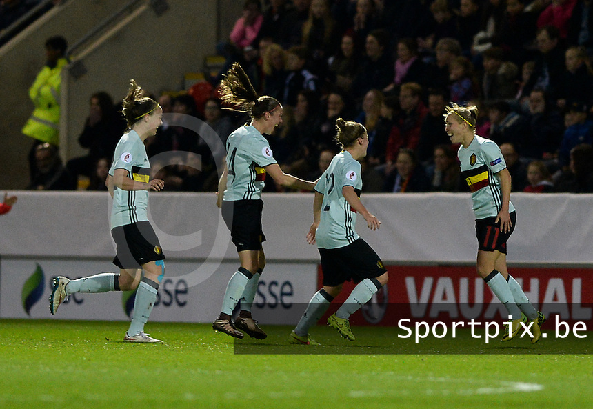 20160408 - ROTHERHAM , ENGLAND : Belgian team pictured celebrating their 0-1 lead during the female soccer game between England and The Belgian Red Flames - Belgium , the fourth game in the qualification for the European Championship in The Netherlands 2017  , Friday 8 th April 2016 at AESSEAL New York Stadium in Rotherham , England . PHOTO DAVID CATRY