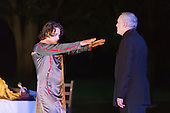 "11 July 2014, Muelheim/Ruhr, Germany. Fabio Menendez as Haimon and Volker Roos as Creon/Kreon. Roberto Ciulli's ""Theater an der Ruhr"" perform ""Antigone"" as part of their open-air season ""Weisse Naechte"" (White Nights) in Raffelbergpark, Muelheim an der Ruhr, Germany."