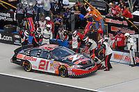 Apr 28, 2007; Talladega, AL, USA; Nascar Busch Series driver Kevin Harvick (21) pits during the Aarons 312 at Talladega Superspeedway. Mandatory Credit: Mark J. Rebilas