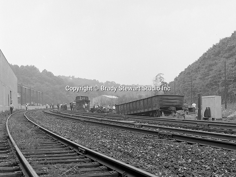 Corliss PA - View of the accident site near the train station at Corliss Pennsylvania.  The assignment was for the PA Railroad due to a train derailment near the station - 1964.  Brady Stewart Studio was a contract photography studio for the railroad from 1955 through 1965.