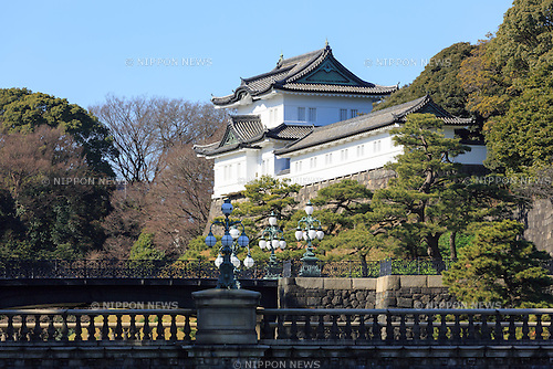 A view of the Seimon-Tetsubashi (Main Gate Bridge) of Tokyo Imperial Palace, on January 12, 2017, Tokyo, Japan. The Japanese government is discussing legal changes to allow for the abdication of Emperor Akihito (83 year old) and the ascension to the throne of his eldest son Crown Prince Naruhito on New Year's Day 2019. This would be the 30th year of the Akihito's reign. Current Japanese law has no provision to allow an Emperor to step down, but there is public support for Akihito to step aside after a public address in 2016 where he expressed concern that his age may stop him from carrying out his Imperial duties. The government is also discussing setting a new era name in the Japanese calendar to correspond to the new emperor's reign and by starting on January 1st 2019 they hope to avoid confusion to people's lives. (Photo by Rodrigo Reyes Marin/AFLO)