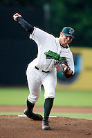 July 30, 2009:  Pitcher Josh Roberts of the Jamestown Jammers delivers a pitch during a game at Russell Diethrick Park in Jamestown, NY.  The Jammers are the NY-Penn League Short-Season Single-A affiliate of the Florida Marlins.  Photo By Mike Janes/Four Seam Images