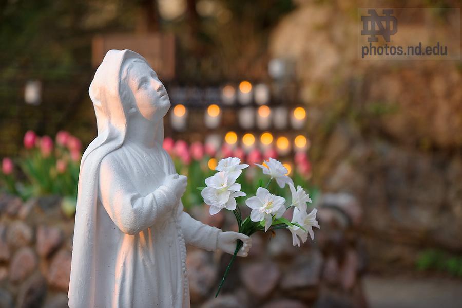 Mar. 25, 2012; St. Bernadette statue at the Grotto...Photo by Matt Cashore/University of Notre Dame