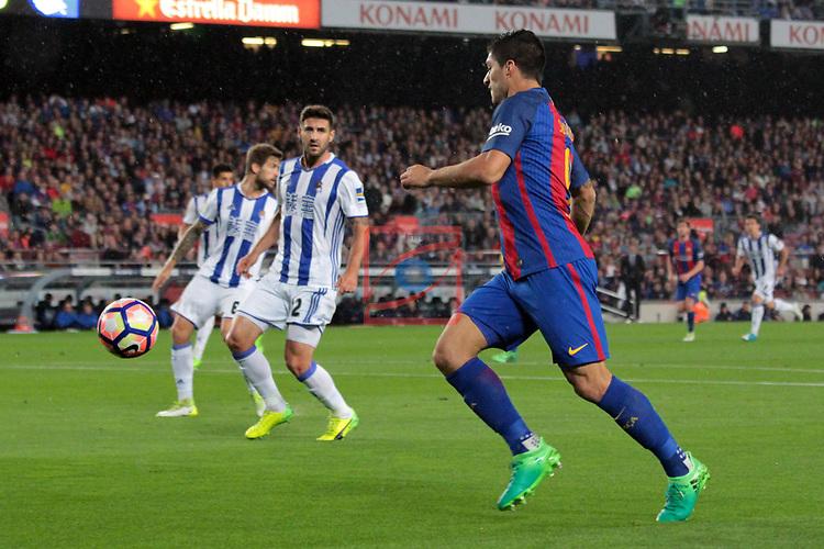 League Santander 2016/2017. Game: 32.<br /> FC Barcelona vs Real Sociedad: 3-2.<br /> Raul Navas vs Luis Suarez.