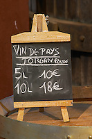 BiB Vin de Pays Torgan Rouge Red 5 litres 10 euro, 10 litres 18 euro. Advertising bag in box wine. Domaine Bertrand-Berge In Paziols. Fitou. Languedoc. The wine shop and tasting room. France. Europe.