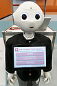 A SoftBank's humanoid robot Pepper shows on its screen a multilingual application for tourists during SoftBank Robot World 2017 on November 21, 2017, Tokyo, Japan. SoftBank Robotics organized SoftBank Robot World 2017 to introduce AI (Artificial Intelligence) and IoT (the Internet of Things) companies developing the latest technology for robots, including applications its humanoid robot Pepper in various business fields. The robot expo runs until November 22. (Photo by Rodrigo Reyes Marin/AFLO)
