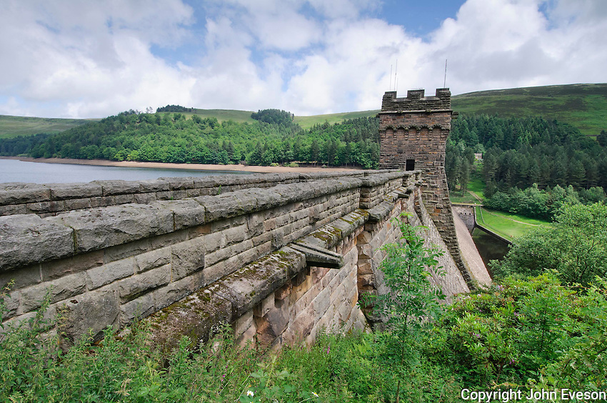 Dam at Derwent Reservoir, Derbyshire.