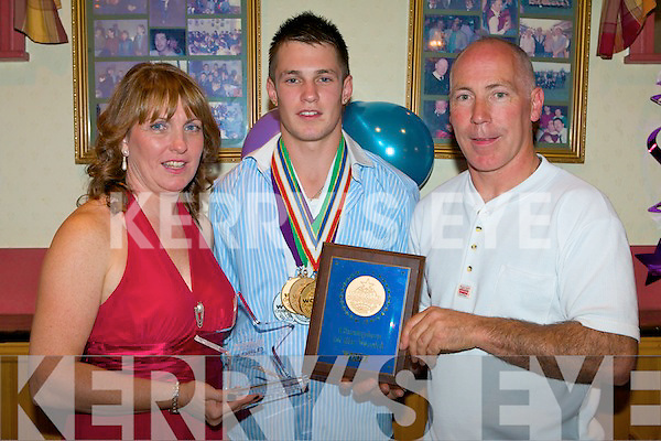 PROUD PARENTS: Anne and Noel Kelliher, Manor proud of their son Darragh achievements that won the overall World Championship of Performing Arts in Los Angeles enjoying a party held in honor at John Mitchels clubhouse on Saturday.