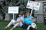 Demonstrators protest ahead of the Democratic National Convention in Civic Center Park in downtown Denver, Colorado on August 24, 2008.  The Democratic National Convention officially gets underway Monday August 25, 2008.