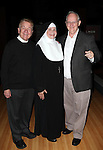 Dan Goggin, Cindy Williams and Jim Murtha performing a preview of 'Nunset Boulevard: The Nunsense Hollywood Bowl Show' at the Bowlmor Lanes Thursday, Sept. 27, 2012 in Times Square, New York.