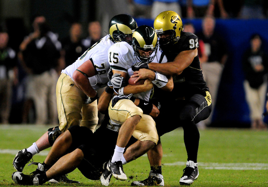 31 Aug 2008: Colorado State quarterback Billy Farris is sacked by Colorado defensive end Jason Brace (92). The Colorado Buffaloes defeated the Colorado State Rams 38-17 at Invesco Field at Mile High in Denver, Colorado. FOR EDITORIAL USE ONLY