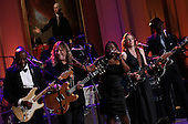"(L-R) Buddy Guy, Warren Haynes, Shemekia Copeland, Susan Tedeschi and Keb Mo perform with an all-star cast at a White House event titled In Performance at the White House: Red, White and Blues, February 21, 2012 in Washington, DC.  As part of the In Perfomance series, music legends and contemporary major artists have been invited to perform at  the White House for a celebration of Blues music and in recognition of Black History Month. The program featured performances by B.B. King, Troy ""Trombone Shorty"" Andrews, Gary Clark, Jr., Mick Jagger and Derek Trucks, with Taraji P. Henson as the program host and Booker T. Jones as music director and band leader.  .Credit: Win McNamee / Pool via CNP"