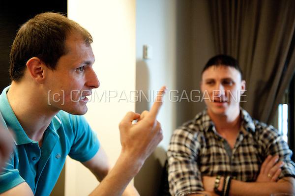 Serbian football players Bojan Jorga?evi? and Milan Jovanovi? (Belgium, 02/04/2012)