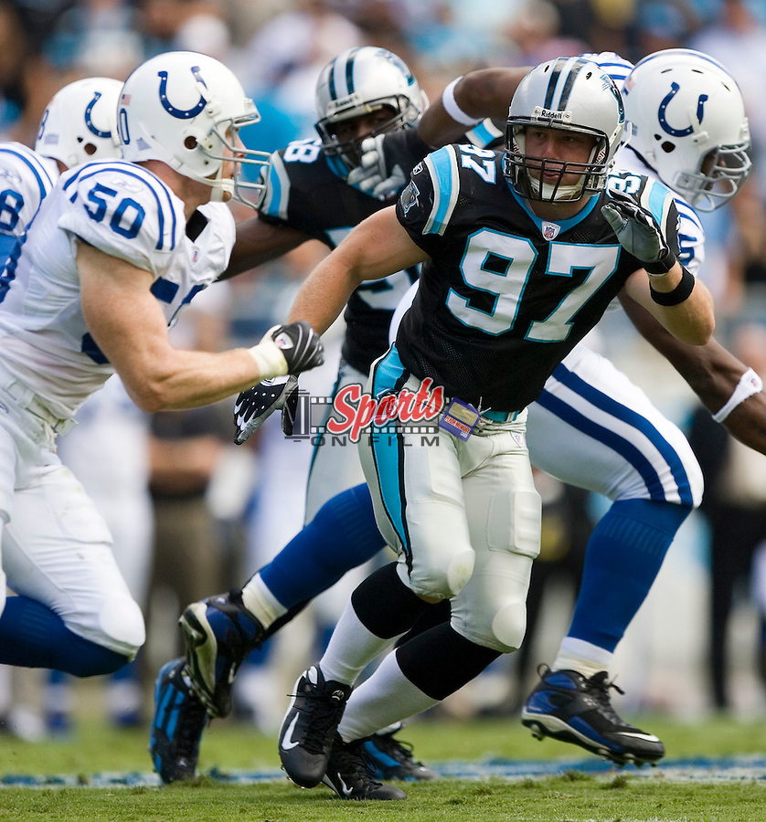 Carolina Panthers linebacker Tim Shaw (97) in action versus the Indianapolis Colts at Bank of America Stadium in Charlotte, NC, Sunday, October 28, 2007.