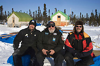Portrait of Ed Hartman Jim Paulus Jon Rickert volunteers who built Cripple chkpt 2006 Iditarod