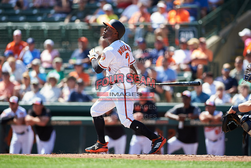 Baltimore Orioles center fielder Cedric Mullins (3) follows through on a swing during a Grapefruit League Spring Training game against the Tampa Bay Rays on March 1, 2019 at Ed Smith Stadium in Sarasota, Florida.  Rays defeated the Orioles 10-5.  (Mike Janes/Four Seam Images)