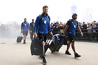 Max Wright, Kahn Fotuali'i and the rest of the Bath Rugby team arrive at Twickenham Stadium. Gallagher Premiership match, The Clash, between Bath Rugby and Bristol Rugby on April 6, 2019 at Twickenham Stadium in London, England. Photo by: Rogan Thomson / JMP for Onside Images