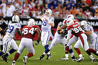 Sept. 27, 2009; Glendale, AZ, USA; Indianapolis Colts quarterback (18) Peyton Manning throws a pass in the second quarter against the Arizona Cardinals at University of Phoenix Stadium. Mandatory Credit: Mark J. Rebilas-