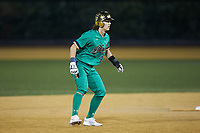 Brooks Coetzee (42) of the Notre Dame Fighting Irish takes his lead off of second base against the Wake Forest Demon Deacons at David F. Couch Ballpark on March 10, 2019 in  Winston-Salem, North Carolina. The Fighting Irish defeated the Demon Deacons 8-7 in 10 innings in game two of a double-header. (Brian Westerholt/Four Seam Images)