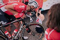 Jelle Vanendert (BEL/Lotto-Soudal) & his kids at the race start<br /> <br /> Stage 6: Brest > Mûr de Bretagne / Guerlédan (181km)<br /> <br /> 105th Tour de France 2018<br /> ©kramon
