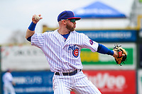Iowa Cubs third baseman Trent Giambrone (6) makes a throw to first base between innings of a Pacific Coast League game against the San Antonio Missions on May 2, 2019 at Principal Park in Des Moines, Iowa. Iowa defeated San Antonio 8-6. (Brad Krause/Four Seam Images)