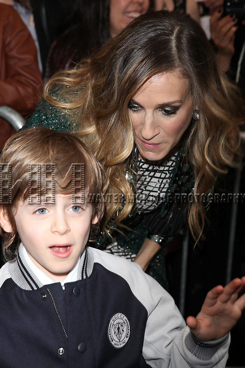 Sarah Jessica Parker with son James Wilke Broderick.attending the Broadway Opening Night Performance of 'Catch Me If You Can' at the Neil Simon Theatre in New York City.