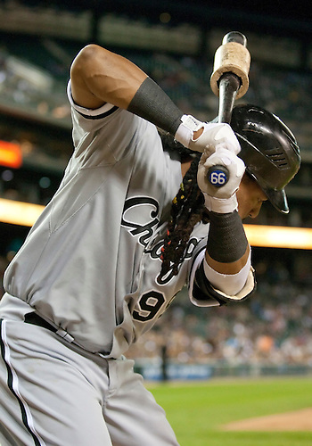 September 08, 2010:  Chicago White Sox designated hitter Manny Ramirez (#99) on deck during game action between the Chicago White Sox and the Detroit Tigers at Comerica Park in Detroit, Michigan.  The Tigers defeated the White Sox 5-1.