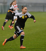 20141126 - TUBIZE , BELGIUM : Belgian Lola Wajnblum pictured during the Friendly female soccer match between Women under 19 / 21  teams of  Belgium and Turkey .Wednesday 26th November 2014 . PHOTO DAVID CATRY
