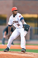 Greeneville Astros starting pitcher Felipe Tejada (31) delivers a pitch during a game against the Kingsport Mets at Pioneer Park on July 1, 2017 in Greeneville, Tennessee. The Astros defeated the Mets 6-2. (Tony Farlow/Four Seam Images)