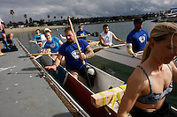 Saturday, 01/24/09.  Campland on the Bay, Mission Bay, San Diego, CA, USA.  Greg Crouse (c), Ariel Rigney (rear) and Amy Bronn (foreground) cast off for a paddle on Mission Bay during an event sponsored by the Challenged Athletes Foundation.  The participants had the opportunity to try several different paddle sports.  The Challenged Athletes Foundation established the Operation Rebound fund to provide sports opportunities and support for troops, veterans and first responders who have suffered permanent physical injuries in the line of duty.