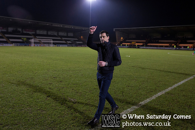 St Mirren 4 The New Saints 1, 19/02/2017. Paisley 2021 Stadium, Scottish Challenge Cup. Home manager Jack Ross gives the thumbs-up to fans at the Paisley2021 Stadium after Scottish Championship side St Mirren played Welsh champions The New Saints in the semi-final of the Scottish Challenge Cup for the right to meet Dundee United in the final. The competition was expanded for the 2016-17 season to include four clubs from Wales and Northern Ireland as well as Scottish Premier under-20 teams. Despite trailing at half-time, St Mirren won the match 4-1 watched by a crowd of 2044, including 75 away fans. Photo by Colin McPherson.