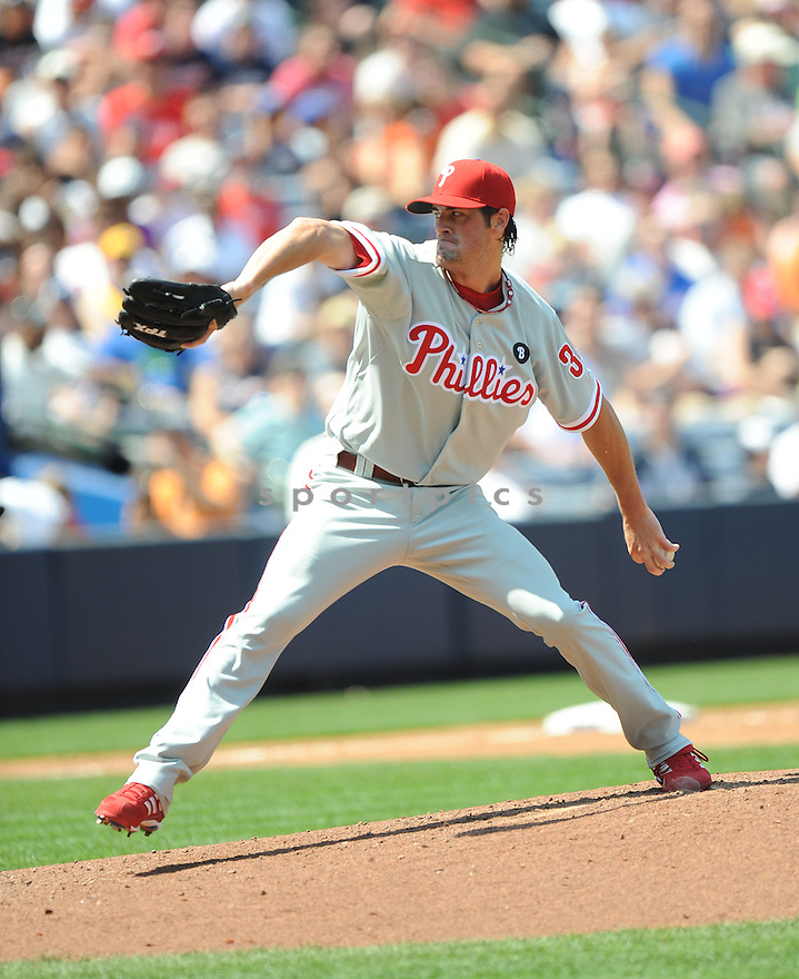 COLE HAMELS, of the Philadelphia Phillies, in action during the Phillies game against the Atlanta Braves on April 10, 2011 at Turner Field in Atlanta Georgia.  The Phillies beat the Braves 3-0.