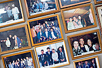 "Photos of clients, including celebrities and politicians, line the walls of the Yasuda family's ""Yakata-bune"" pleasure boat business in Tokyo, Japan on 31 August  2010. .Photographer: Robert Gilhooly"