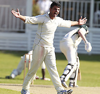 Umar Asif of South Hampstead appeals for an LBW during the Middlesex County Cricket League Division Three game between North London and South Hampstead at Park Road, Crouch End on Sat June 21, 2014.