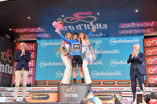 Mikel Landa (ESP) Team Sky wins the mountains classification Maglia Azzura at the end of Stage 21 the final stage of the 100th edition of the Giro d'Italia 2017, an individual time trial running 29.3km from Monza Autodrome to Milan Duomo, Italy. 28th May 2017.<br /> Picture: LaPresse/Gian Mattia D'Alberto | Cyclefile<br /> <br /> <br /> All photos usage must carry mandatory copyright credit (&copy; Cyclefile | LaPresse/Gian Mattia D'Alberto)