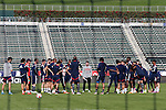 06 December 2014: New England head coach Jay Heaps (center) talks to his team. Major League Soccer held a training sessions at the StubHub Center in Carson, California one day before the Los Angeles Galaxy hosted the New England Revolution in MLS Cup 2014.