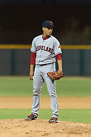 AZL Indians 2 relief pitcher Jose Oca (69) looks in for the sign during an Arizona League game against the AZL Cubs 2 at Sloan Park on August 2, 2018 in Mesa, Arizona. The AZL Indians 2 defeated the AZL Cubs 2 by a score of 9-8. (Zachary Lucy/Four Seam Images)