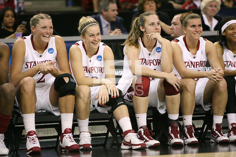 SACRAMENTO, CA - MARCH 27:  Jayne Appel, JJ Hones, Kayla Pedersen and Jeanette Pohlen of the Stanford Cardinal during Stanford's 73-36 win over Georgia in the third round of the NCAA Women's Basketball Championships on March 27, 2010 at Arco Arena in Sacramento, California.