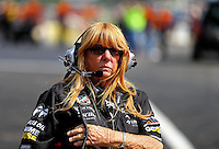 Aug 15, 2014; Brainerd, MN, USA; Diana Dunn wife of NHRA team owner Jim Dunn (not pictured) during qualifying for the Lucas Oil Nationals at Brainerd International Raceway. Mandatory Credit: Mark J. Rebilas-