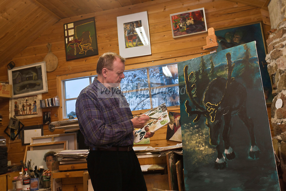 Europe/Finlande/Laponie:Env de Levi/Pöntsö:  Reijo Raekallio  peintre célèbrant les températures extrèmes de la Laponie à Pokka - Raekallio Galerie d'Art, Chambre et Table d'Hôte
