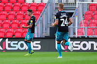 Bersant Celina of Swansea City celebrates scoring the opening goal during the pre season friendly match between Exeter City and Swansea City at St James Park in Exeter, England, UK. Saturday, 20 July 2019