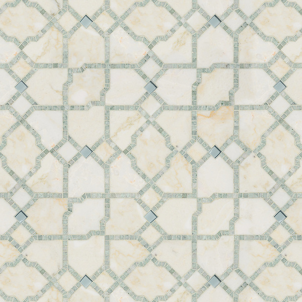 Fasaldo, a waterjet and hand-cut stone and Serenity glass mosaic, shown in Aquaberyl glass, honed Cloud Nine, and polished Ming Green. Designed by Paul Schatz for New Ravenna.
