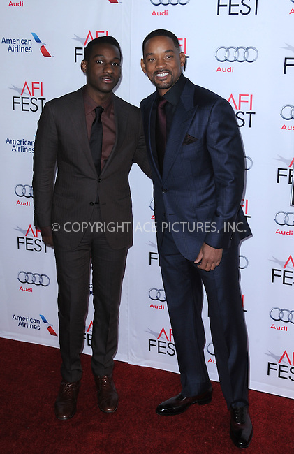 WWW.ACEPIXS.COM<br /> <br /> November 10 2015, LA<br /> <br /> Leon Bridges (L) and Will Smith attends the AFI FEST 2015 Gala Premiere of 'Concussion' at the TCL Chinese Theatre on November 10, 2015 in Hollywood, California.<br /> <br /> By Line: Peter West/ACE Pictures<br /> <br /> <br /> ACE Pictures, Inc.<br /> tel: 646 769 0430<br /> Email: info@acepixs.com<br /> www.acepixs.comC