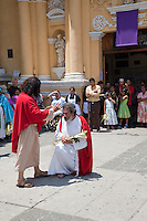 Jesus Designating Peter as the Rock of his Church.  Palm Sunday Re-enactment of events in the life of Jesus, by the group called Luna LLena (Full Moon), a group of volunteers in Antigua, Guatemala.