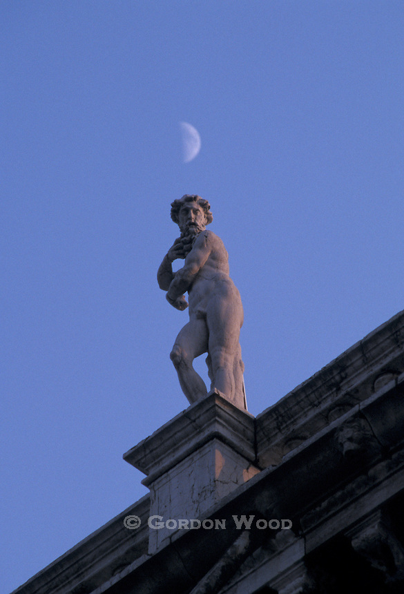 Statuary and Moon Piazza San Marco Venice Veneto Italy