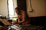 September 14, 2010.  Durham, North Carolina.. Pinson Chanselle, of FTBB, takes notes on the song arrangement.. Day One of Sounds of the South, a reinterpretation of Alan Lomax's field recordings, with music by Megafaun, Fight the Big Bull, Sharon Van Etten and Justin Vernon of Bon Iver..