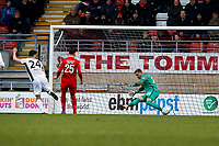 O's Dean Brill saves from Alex Davey during Leyton Orient vs Boreham Wood, Vanarama National League Football at the Matchroom Stadium on 6th January 2018