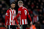 Lys Mousset winks at Oliver McBurnie of Sheffield United during the Premier League match at Bramall Lane, Sheffield. Picture date: 5th December 2019. Picture credit should read: James Wilson/Sportimage
