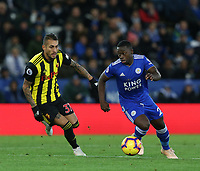 Leicester City's Nampalys Mendy and Watford's Roberto Pereyra <br /> <br /> Photographer Stephen White/CameraSport<br /> <br /> The Premier League - Leicester City v Watford - Saturday 1st December 2018 - King Power Stadium - Leicester<br /> <br /> World Copyright © 2018 CameraSport. All rights reserved. 43 Linden Ave. Countesthorpe. Leicester. England. LE8 5PG - Tel: +44 (0) 116 277 4147 - admin@camerasport.com - www.camerasport.com