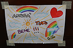 """24/03/2020 in Pergine Valsugana, Italy. Most part of Europe is today on a sweeping confinement to try to slow down the spread of the Covid-19 Pandemic. A drawing with a rainbow and an hope message 'Everything Will Be Fine"""" 'Andra tutto Bene' in Italian."""